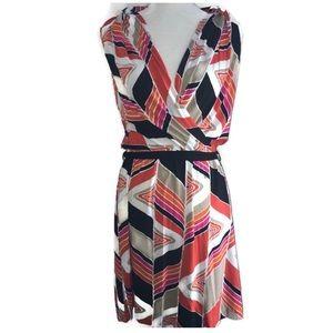 Trina Turk Faux Wrap Dress Geometric Pattern Logos